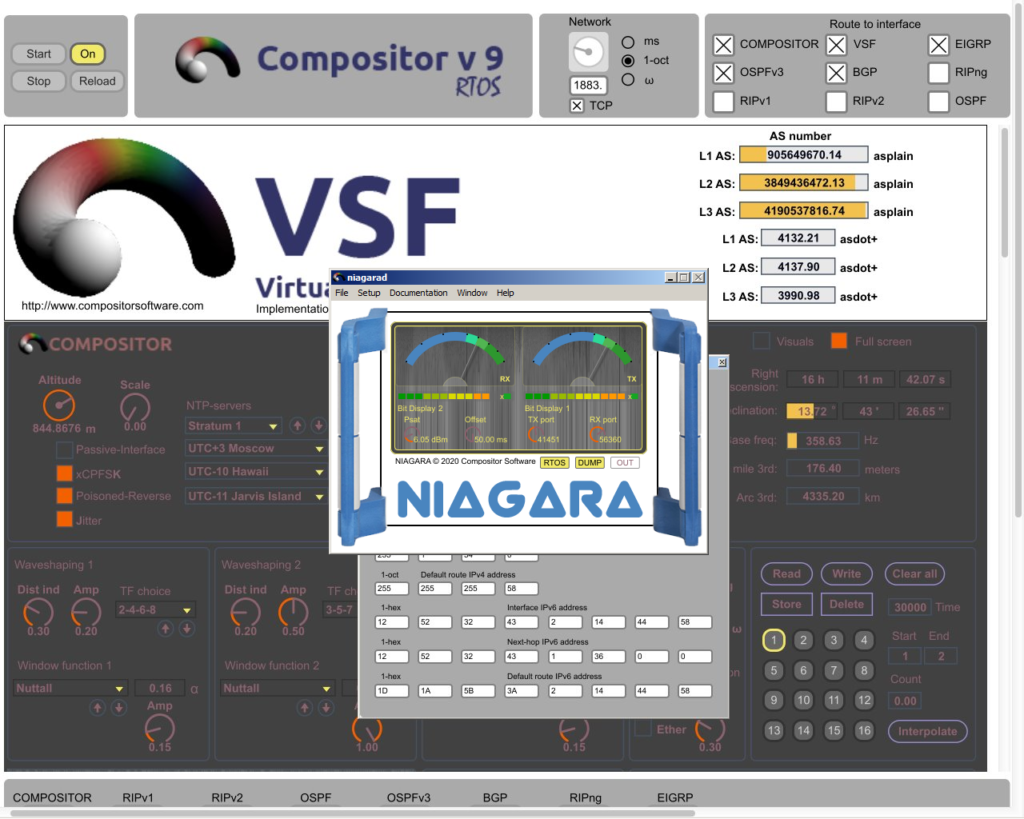 Niagara 18 software modem in front of Compositor RTOS 9.0.2 a12